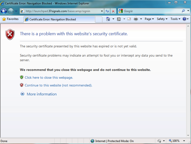 Basecamp Classic: Security certificate warning when logging into ...
