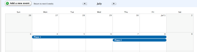 Basecamp classic can i create gantt charts with basecamp your spanned events can even overlap ccuart Gallery